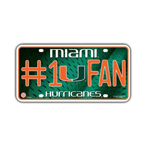 Embossed Aluminum License Plate Cover - University of Miami Hurricanes