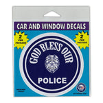 "Window Decals (2-Pack) - God Bless Our Police (4"" Diameter)"