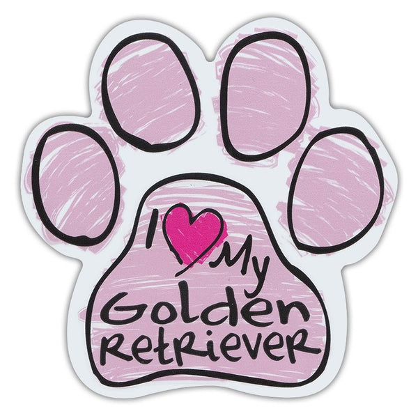 Pink Scribble Dog Paw Magnet - I Love My Golden Retriever
