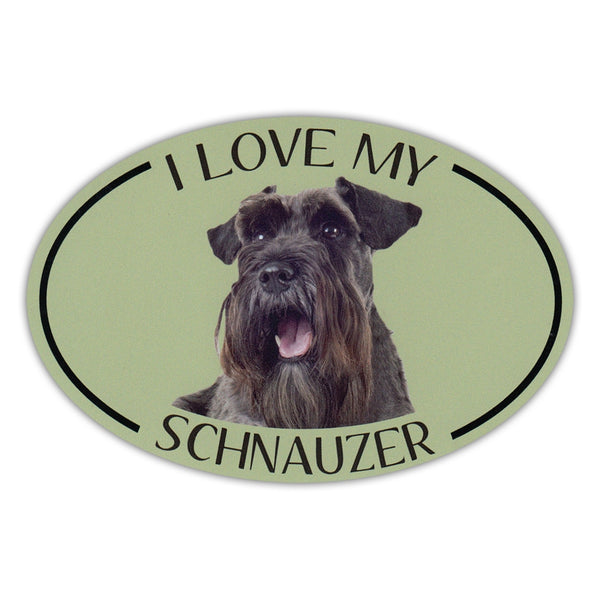 Oval Dog Magnet - I Love My Schnauzer