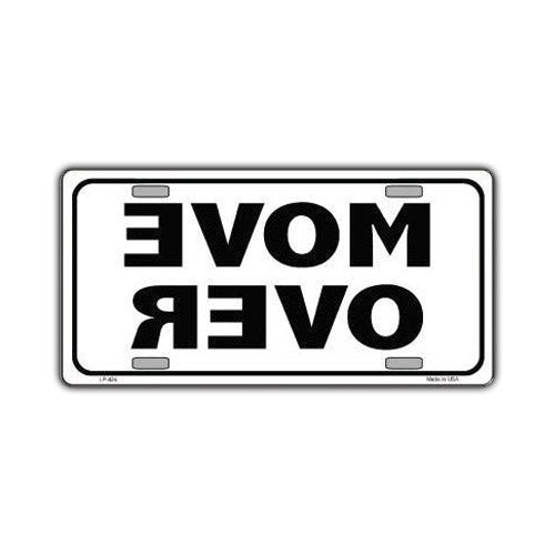 Aluminum License Plate Cover - Move Over, White