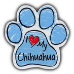Blue Scribble Dog Paw Magnet - I Love My Chihuahua