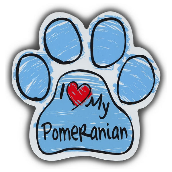 Blue Scribble Dog Paw Magnet - I Love My Pomeranian