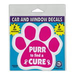 "Window Decals (2-Pack) - Purr To Find A Cure (4.5"" x 4.25"")"