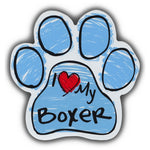 Blue Scribble Dog Paw Magnet - I Love My Boxer