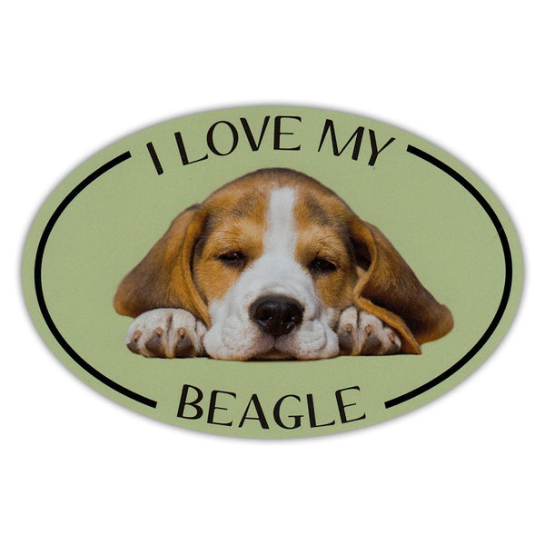 Oval Dog Magnet - I Love My Beagle