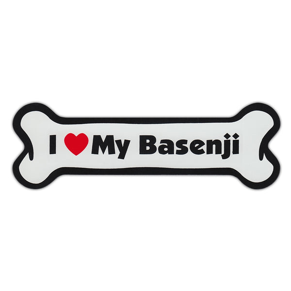 Dog Bone Magnet - I Love My Basenji