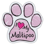 Pink Scribble Dog Paw Magnet - I Love My Maltipoo