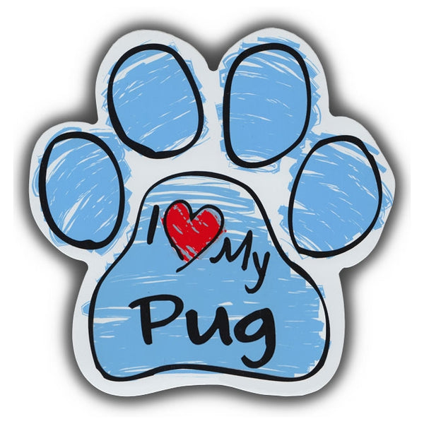 Blue Scribble Dog Paw Magnet - I Love My Pug