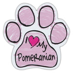 Pink Scribble Dog Paw Magnet - I Love My Pomeranian
