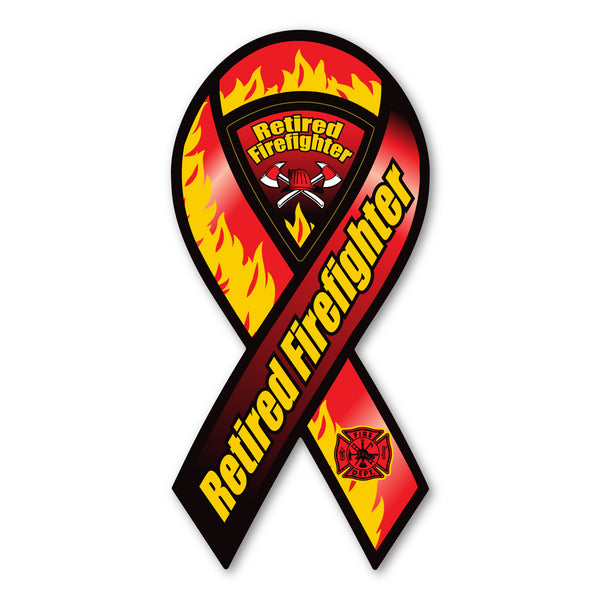 Ribbon Magnet - Retired Firefighter