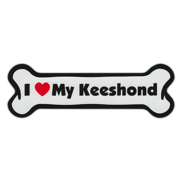 Dog Bone Magnet - I Love My Keeshond