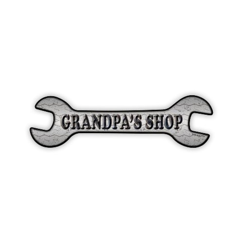 "Aluminum Metal Sign - Grandpa's Shop (17"" x 4.75"")"