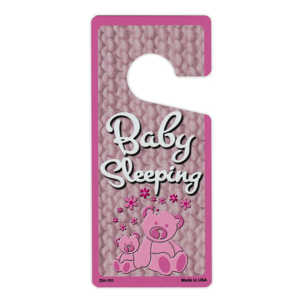 "Door Tag Hanger - Baby Sleeping, Pink (4"" x 9"")"