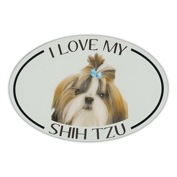 Oval Dog Magnet - I Love My Shih Tzu