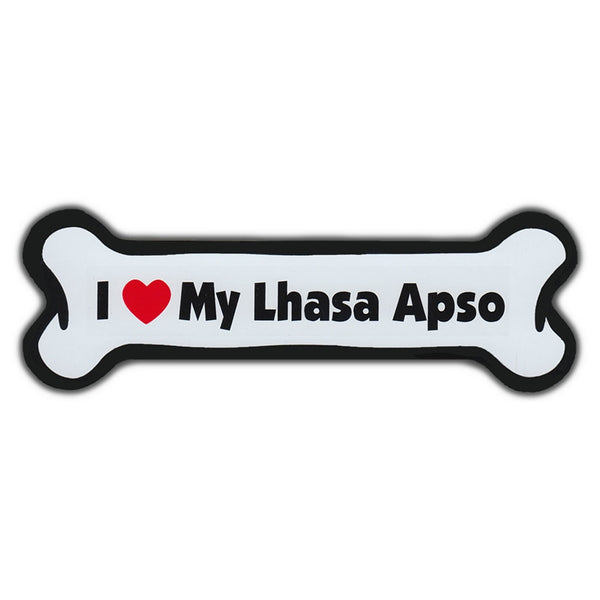 Dog Bone Magnet - I Love My Lhasa Apso