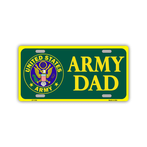 Embossed Aluminum License Plate Cover - Army Dad