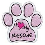 Pink Scribble Dog Paw Magnet - I Love My Rescue