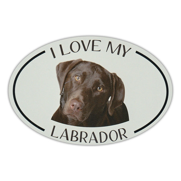 Oval Dog Magnet - I Love My Chocolate Lab
