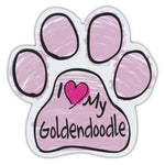 Pink Scribble Dog Paw Magnet - I Love My Goldendoodle