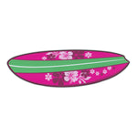 "Magnet - Surfboard (Pink, Hawaiian Flowers) (6.75"" x 2"")"