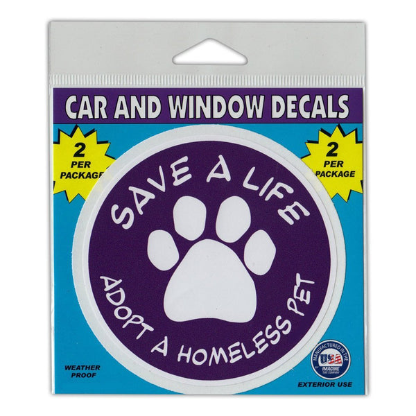 "Window Decals (2-Pack) - Save A Life Adopt A Homeless Pet (4"" Diameter)"