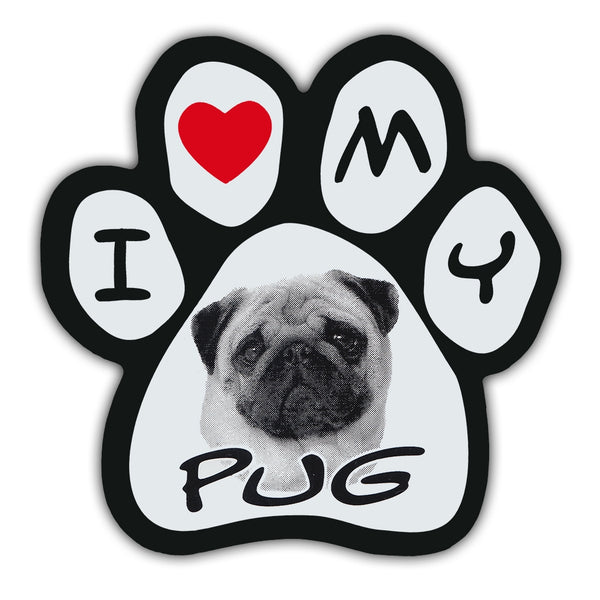 Picture Paw Magnet - I Love My Pug