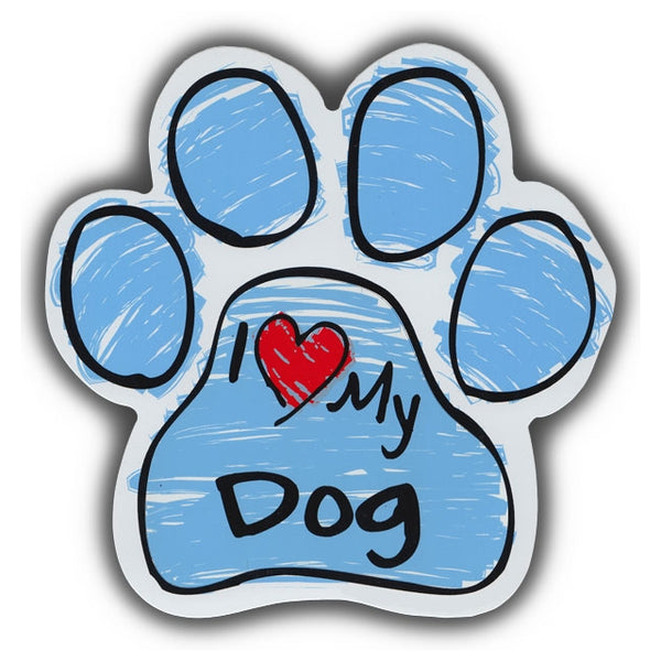 Blue Scribble Dog Paw Magnet - I Love My Dog
