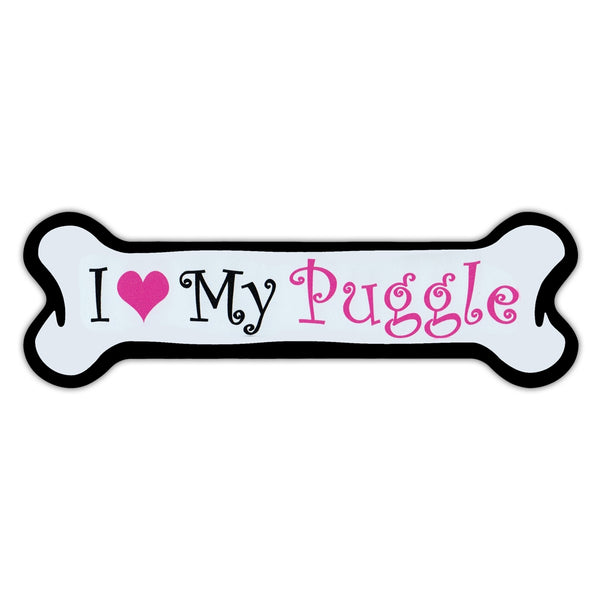 Pink Dog Bone Magnet - I Love My Puggle