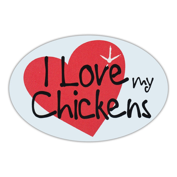 Oval Magnet - I Love My Chickens