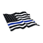 Bumper Sticker - Thin Blue Line Waving United States Flag
