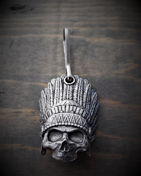 "Zipper Pull - Indian Skull With Feather Headdress (1"" x 1.5"")"