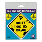 "Window Decals (2-Pack) - Caution Dirty Dog On Board (3"" x 3"")"
