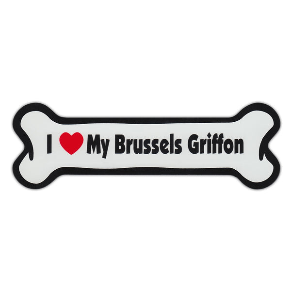 Dog Bone Magnet - Love My Brussels Griffon