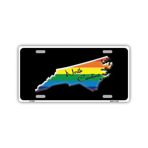Aluminum License Plate Cover - Rainbow Gay Pride North Carolina