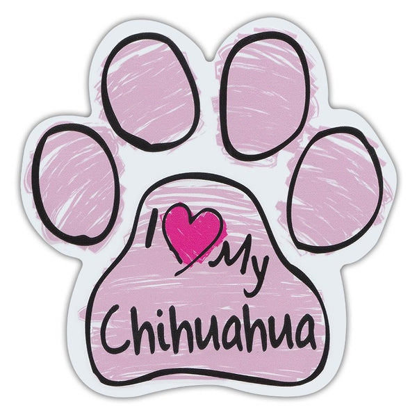 Pink Scribble Dog Paw Magnet - I Love My Chihuahua