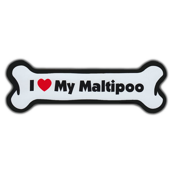 Dog Bone Magnet - I Love My Maltipoo