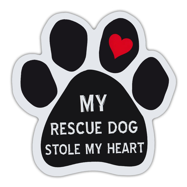 Dog Paw Magnet - My Rescue Dog Stole My Heart