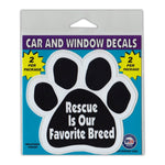 "Window Decals (2-Pack) - Rescue is Our Favorite Breed (4.25"" x 4"")"