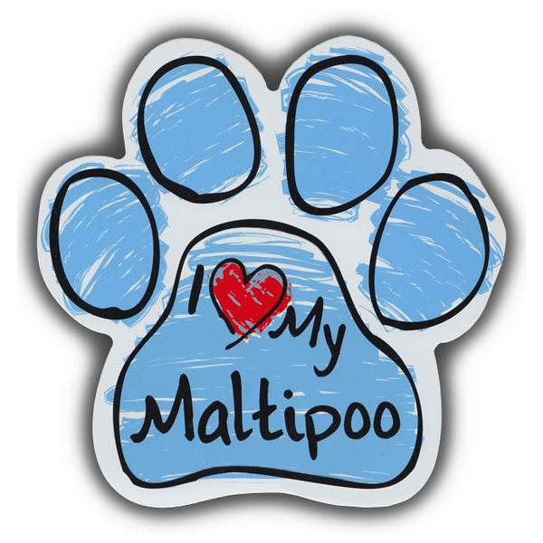 Blue Scribble Dog Paw Magnet - I Love My Maltipoo