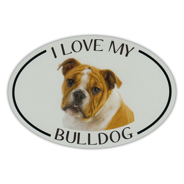 Oval Dog Magnet - I Love My Bulldog
