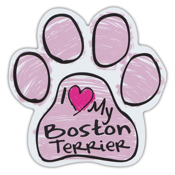 Pink Scribble Dog Paw Magnet - I Love My Boston Terrier