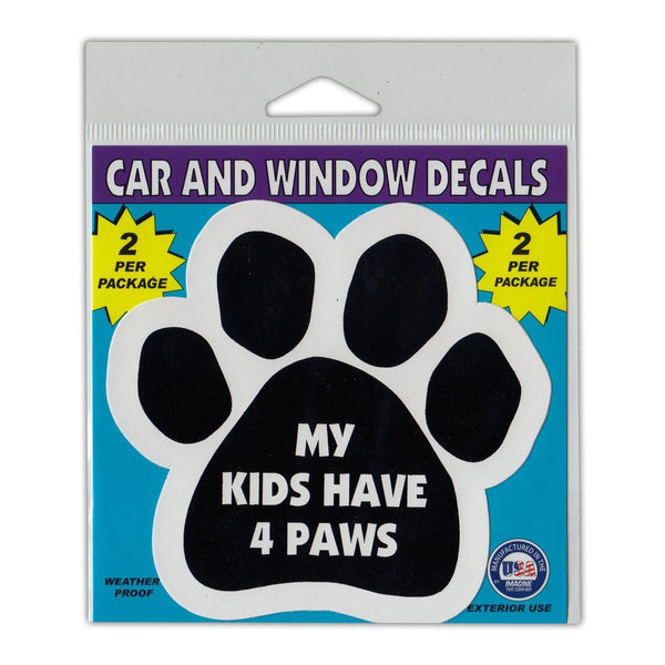 "Window Decals (2-Pack) - My Kids Have Four Paws (4.5"" x 4.25"")"