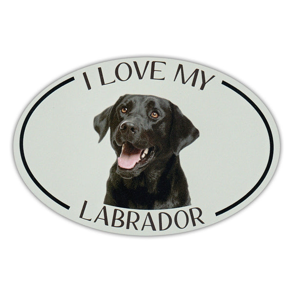 Oval Dog Magnet - I Love My Black Lab