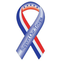 Ribbon Magnet - Support Our Troops (Red, White, Blue)