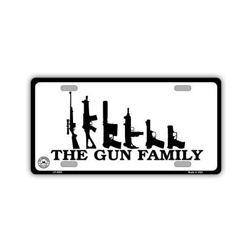 Aluminum License Plate Cover - Gun Family