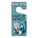 "Door Tag Hanger - Do Not Enter, Hard At Work, Blue (4"" x 9"")"