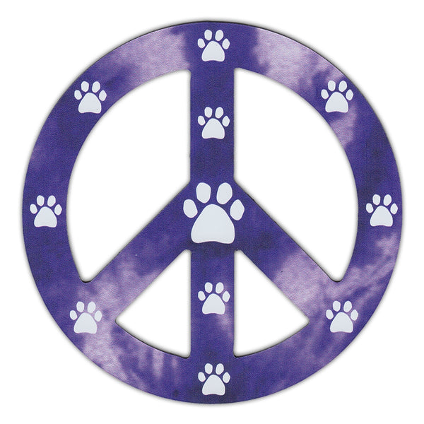 "Magnet - Peace Sign, Purple Design w/Paw Prints (4.75"" Round)"