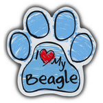 Blue Scribble Dog Paw Magnet - I Love My Beagle