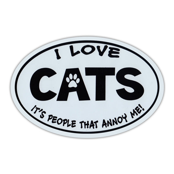 Oval Magnet - Love Cats, People Annoy Me